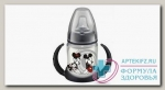 Nuk First Choice обучающая бутылочка с насадкой д/питья и ручками Микки Маус красная 6-18 мес 150 мл