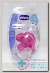 Chicco соска-пустышка Physio Soft силикон 0-6мес розовая/прозрачная N 2