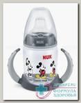 Nuk First Choice обучающая бутылочка с насадкой д/питья и ручками Микки Маус серая 6-18 мес 150 мл N