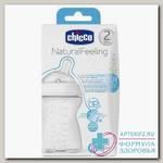 Chicco бутылочка Natural Feeling силикон соска с наклоном м флексорами 250мл +2мес N 1