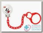 Nuk Disney Микки Маус клипса д/соски-пустышки с цепочкой красная N 1
