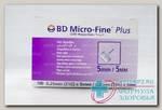 Иглы д/шприц-ручки BD micro -Fine Plus 0,25ммx5мм (31G) N 100