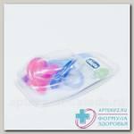 Chicco соска-пустышка Physio Soft силикон 6-12мес розовая/сиреневая N 2