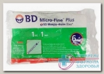 BD Micro-Fine Plus шприцы инсулиновые 1мл U-100 0.25x6мм 31G с иглой N 10
